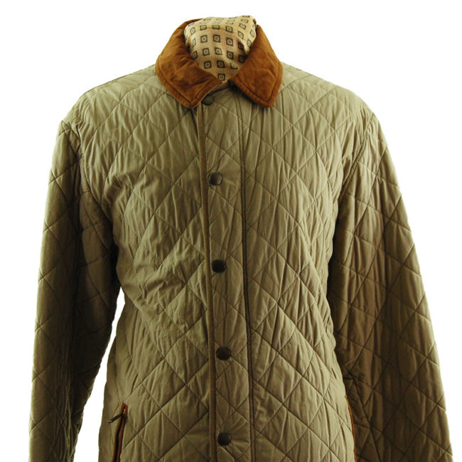 close up of Barbour Milano Fine Cotton Quilted Coat