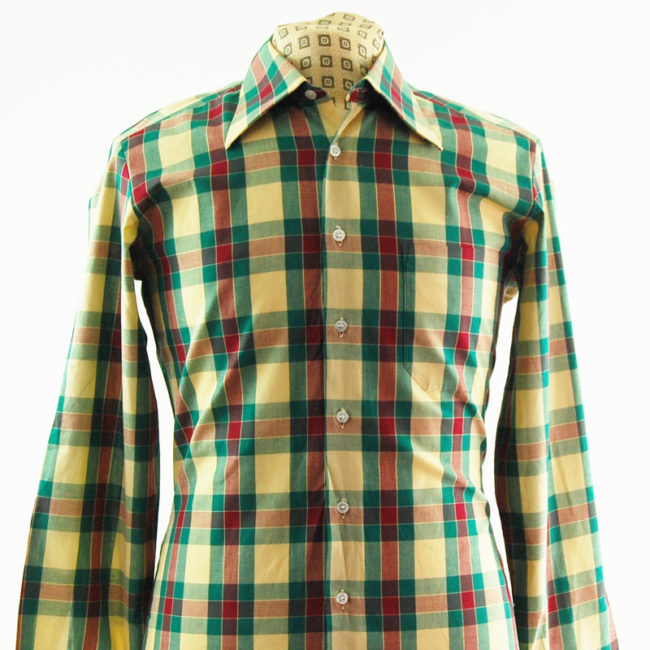 close up of Colourful Plaid 70s Shirt