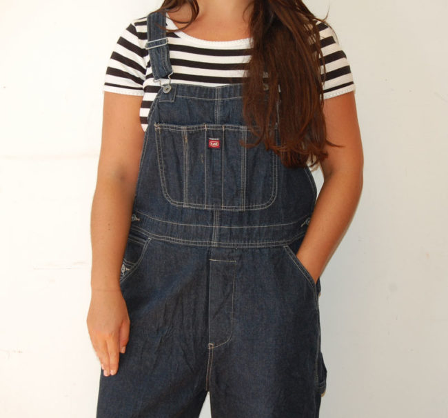 close up of Denim Union Bay Dungarees