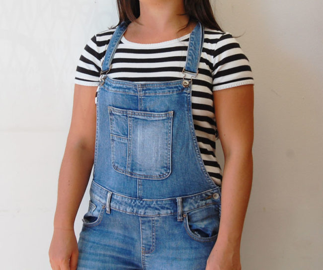 close up of FB Sister Skinny Dungarees