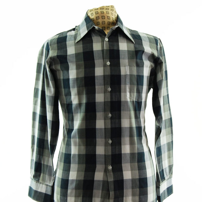 close up of Monochrome Plaid 70s Shirt