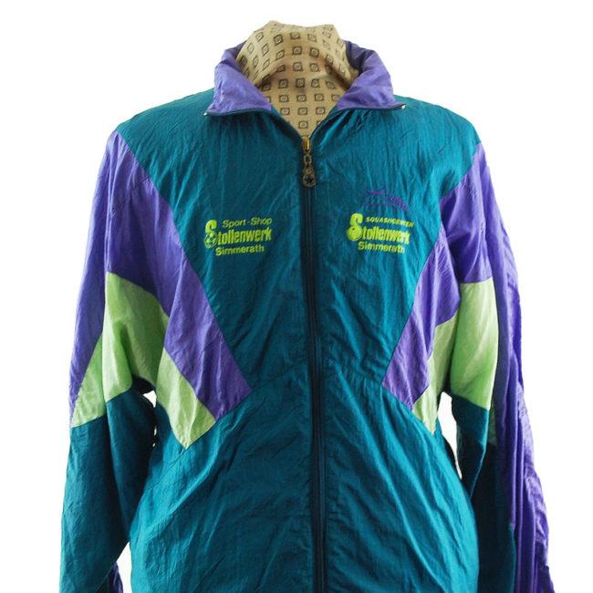 close up of Vintage Forest Green Windbreaker Jacket