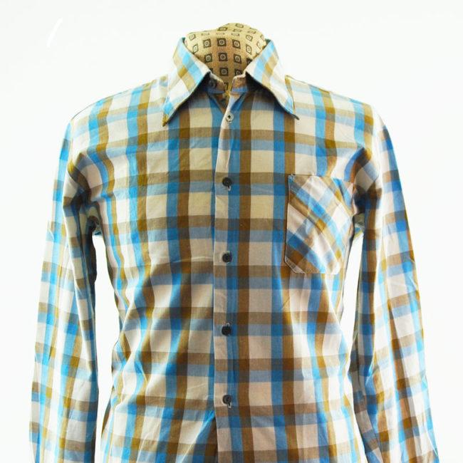 close up of Vintage Pastel Plaid 70s Shirt