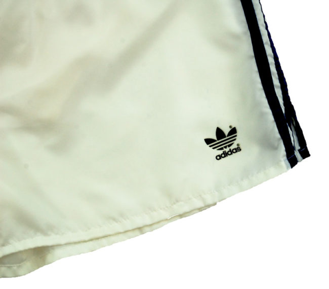 label of 90s Adidas Satin White Sport Shorts