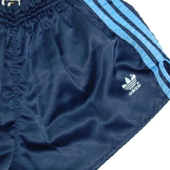 logo 90s Adidas Navy Satin Sport Shorts
