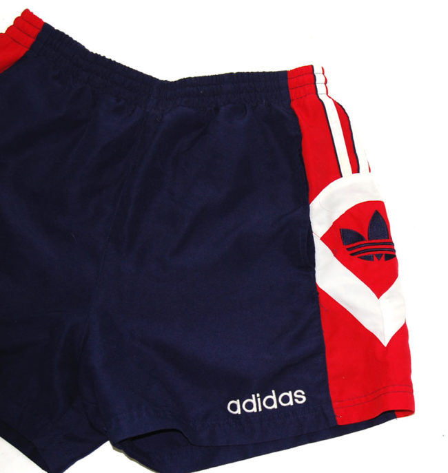 side of 90s Adidas Red And Blue Sport Shorts
