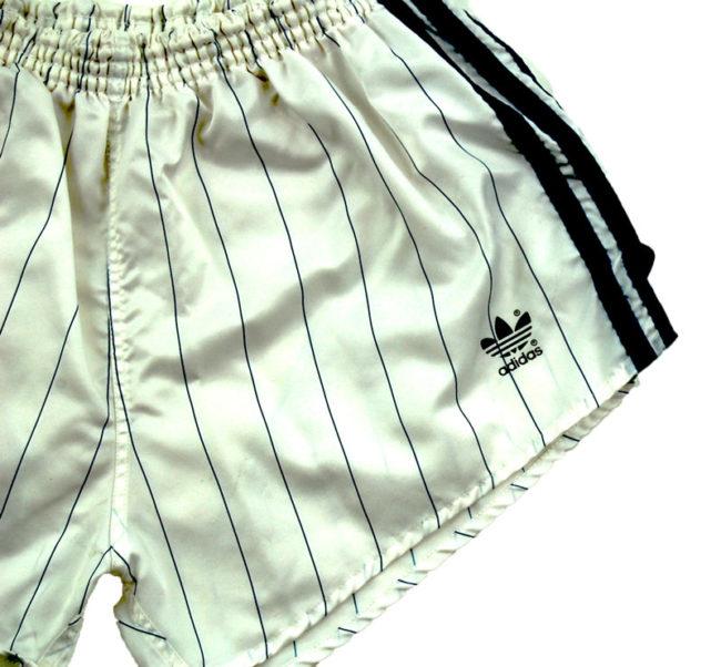 side of 90s Adidas White Satin Sport Shorts