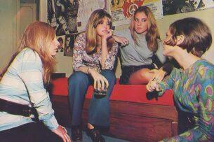 70s clothing-Four Women wearing 70s clothing in magazine photoshoot, 1970