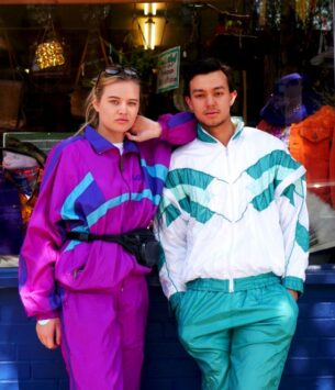 Left, Purple shell suit with turquoise detail. Right, contrasting white and turquoise shell suit