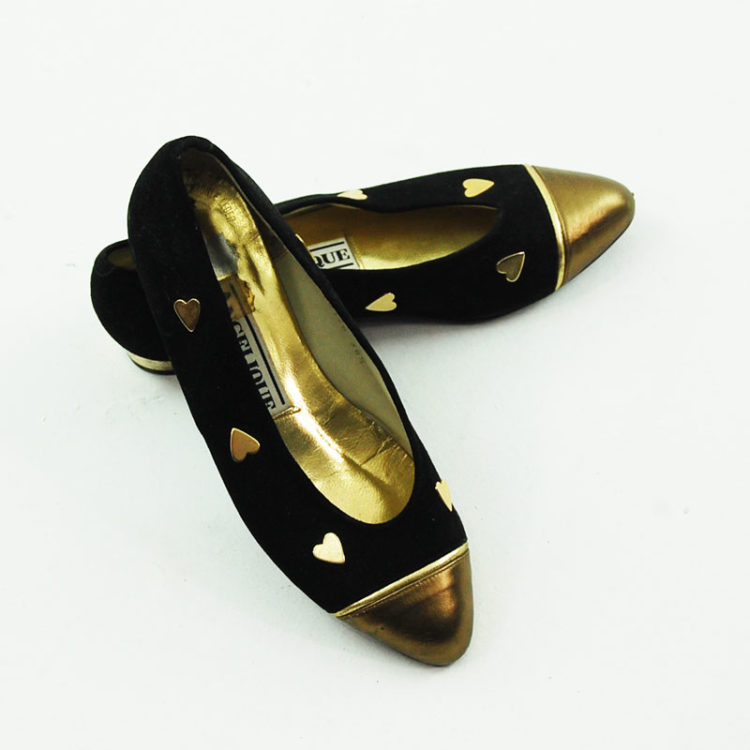 80s Black Suede Pumps With Gold Toecaps, birds eye view