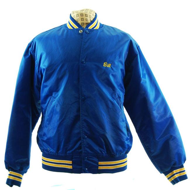 Blue Satin Baseball Jacket