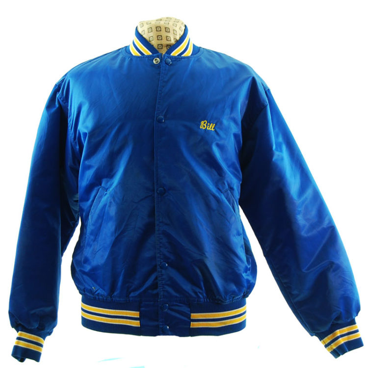 Blue Satin Baseball Jacket