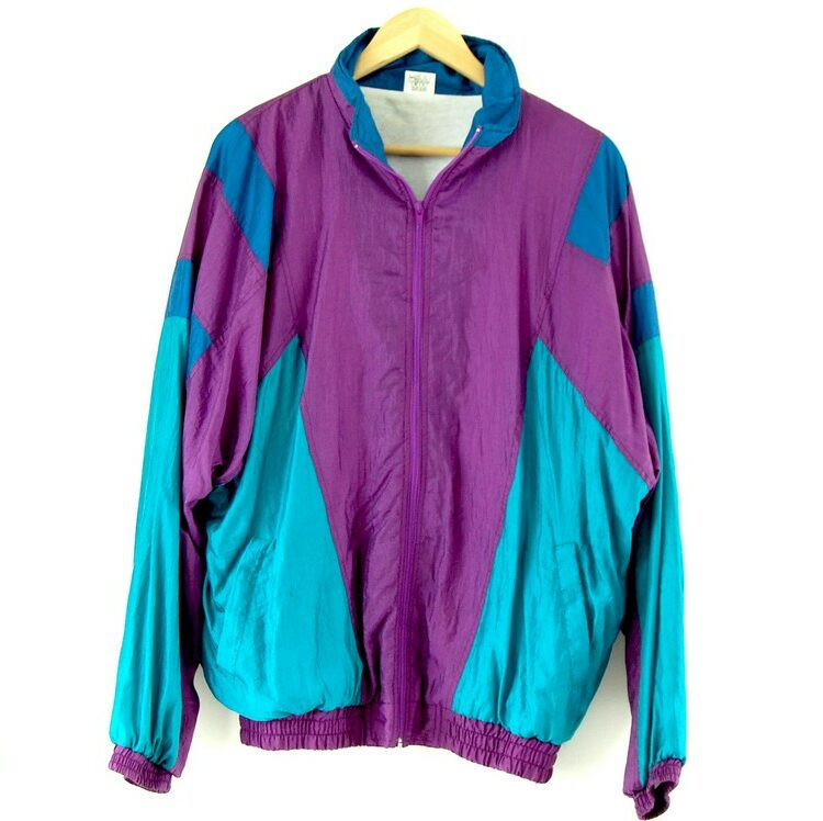 Front of 90s Purple And Turquoise Shell Suit