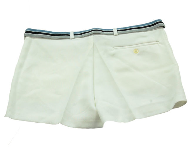 back of 90s Trigema White Tennis Shorts