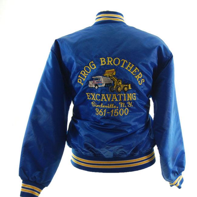 back of Blue Satin Baseball Jacket
