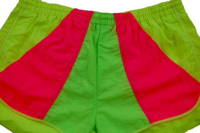 close up of 90s fluorescent Sport Shorts Sport Shorts