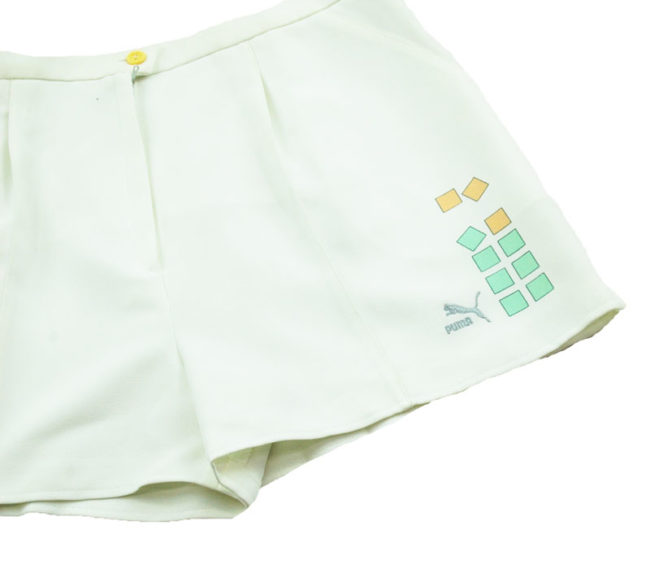 close up of 90s Puma White Tennis Shorts