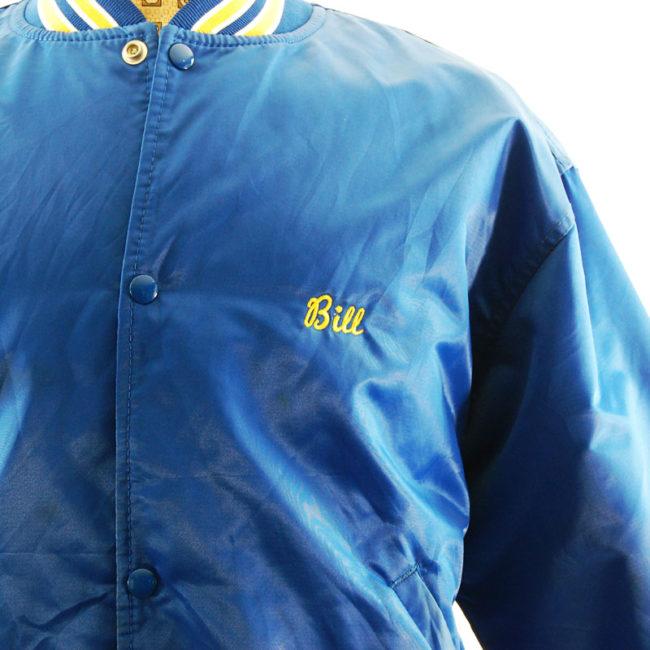close up of Blue Satin Baseball Jacket