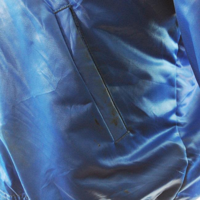 stain 2 Blue Satin Baseball Jacket
