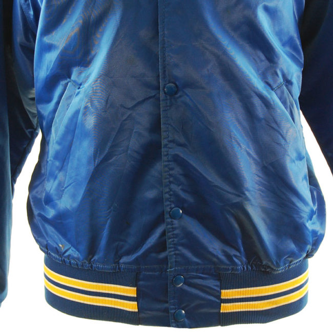 stain Blue Satin Baseball Jacket