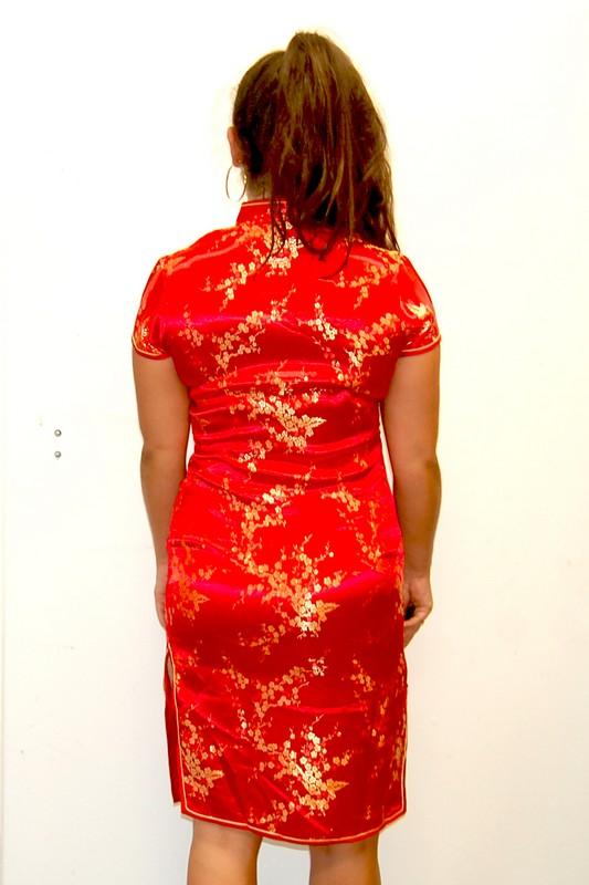Back of Red Vintage Cheongsam Dress