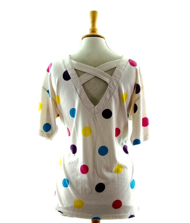 Back of Womens 80s Polka Dot t shirt