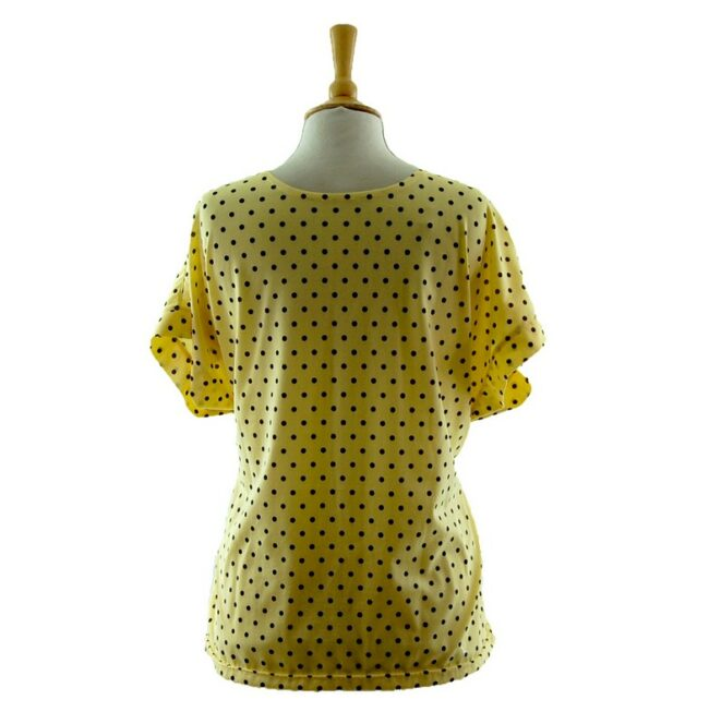 Back of Womens 80s t shirt With Black Polka Dots