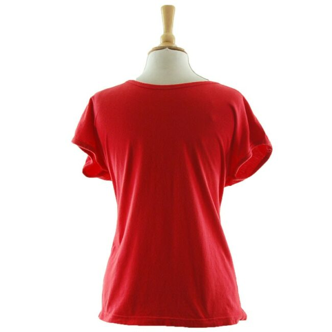 Back of Womens latticed Red 80s T Shirt