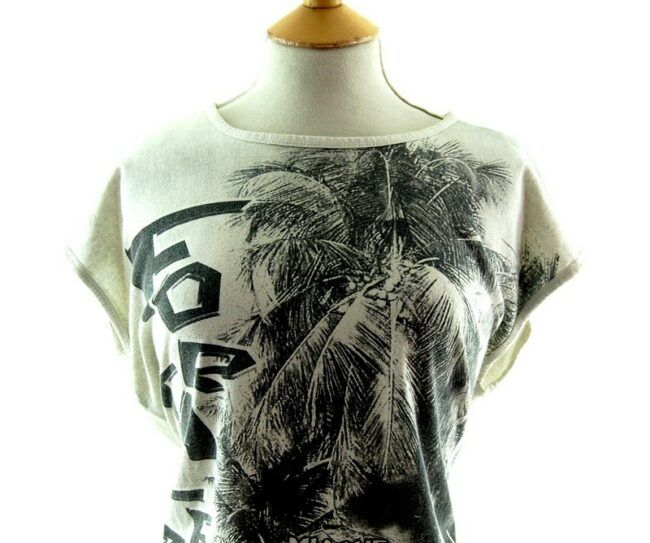 Close up front of Fortaleza Beach Scene Print 80s style t shirt
