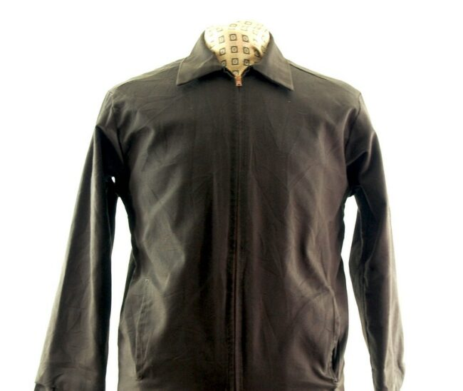 Close up front of Long Brown Work Jacket