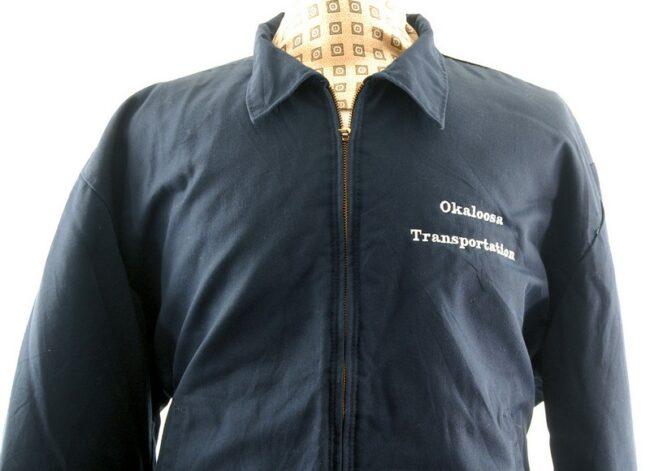 Close up front of Vintage Blue Work Jacket