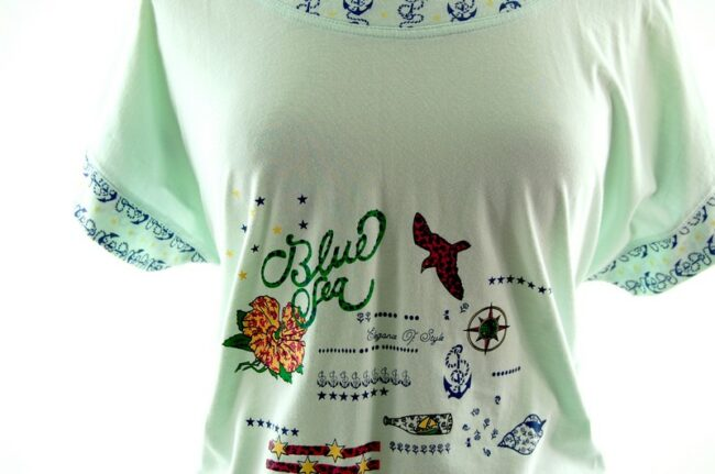 Close up front of Womens Blue Sea Anchor 80s Style Mariner t shirt