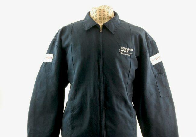 Close up of front of vintage work jacket