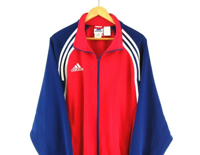 Adidas Red and Blue Track Jacket close up