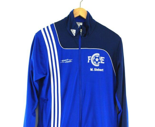 Blue Adidas Track Jacket front close up