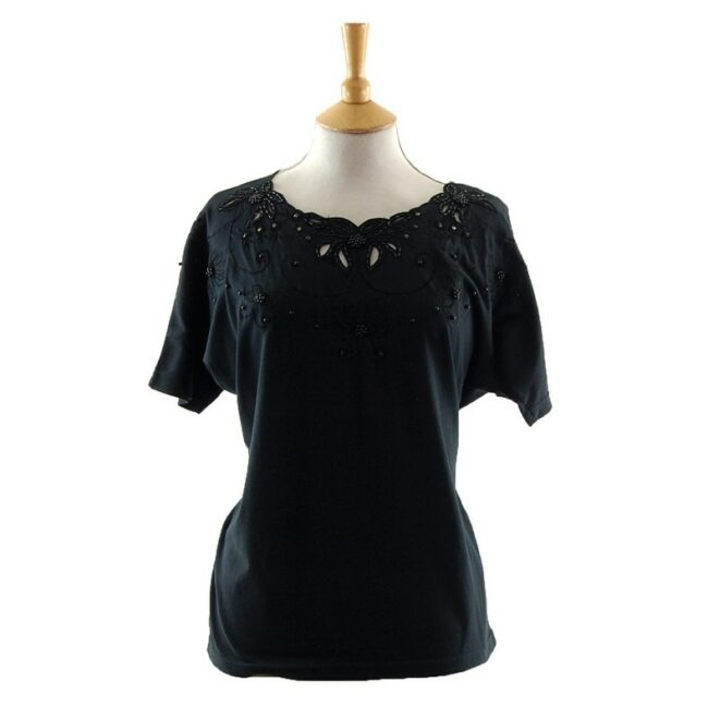 Elegant Womens Black Beaded 80s T Shirt