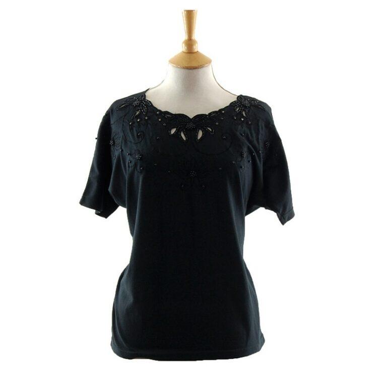 Elegant Womens Black Beaded 80s T Shirt