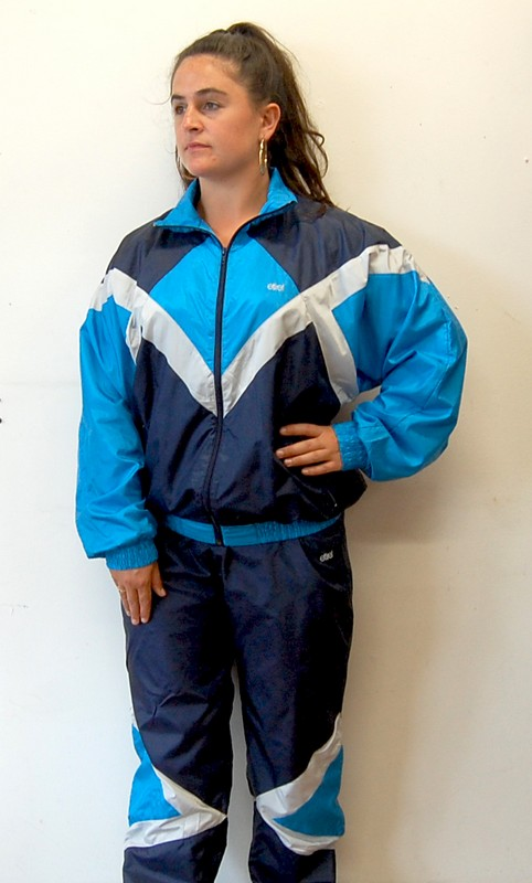 Etirel Blue Shell Suit front profile view