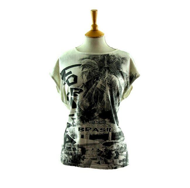 Fortaleza Beach Scene Print 80s style t shirt