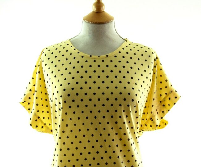 Front close uo of Womens 80s t shirt With Black Polka Dots