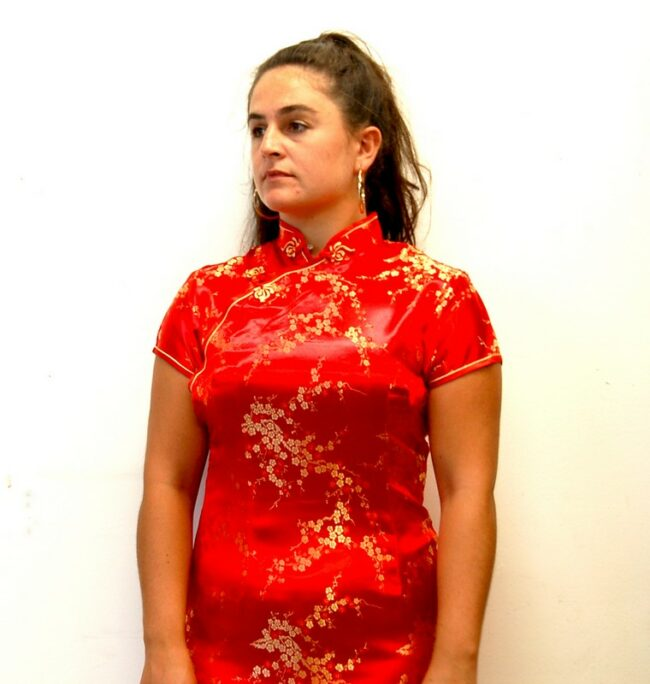 Front close up of Red Vintage Cheongsam Dress