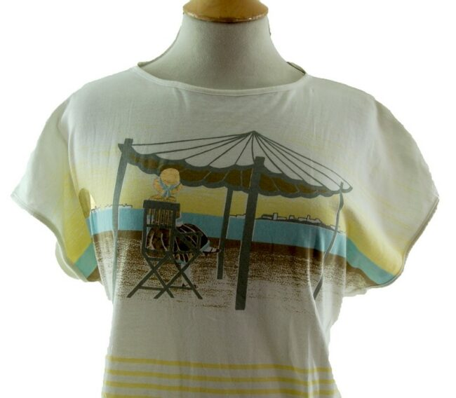 Front close up of Womens Beach Scene 80s Striped T Shirt