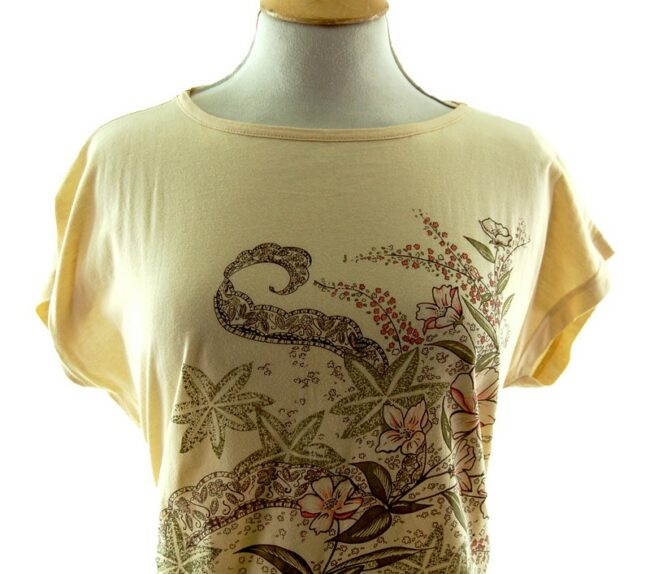 Front close up of Womens Floral Print 80s t shirt
