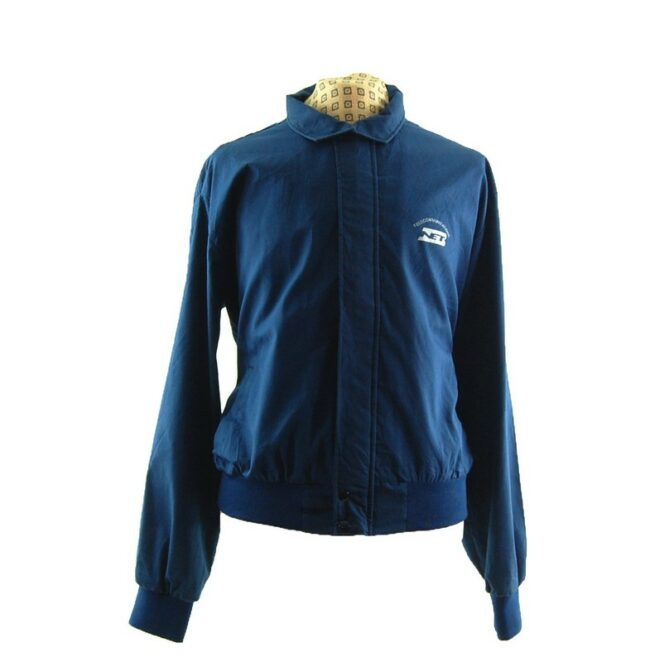 Front of Blue Telecommunications Harrington Work Jacket