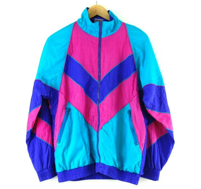 Front of Multicolor Chevron Patterned Shell Suit
