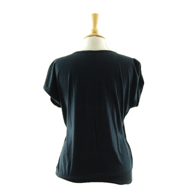 Reverse side of Womens Embroidered Black 80s T Shirt
