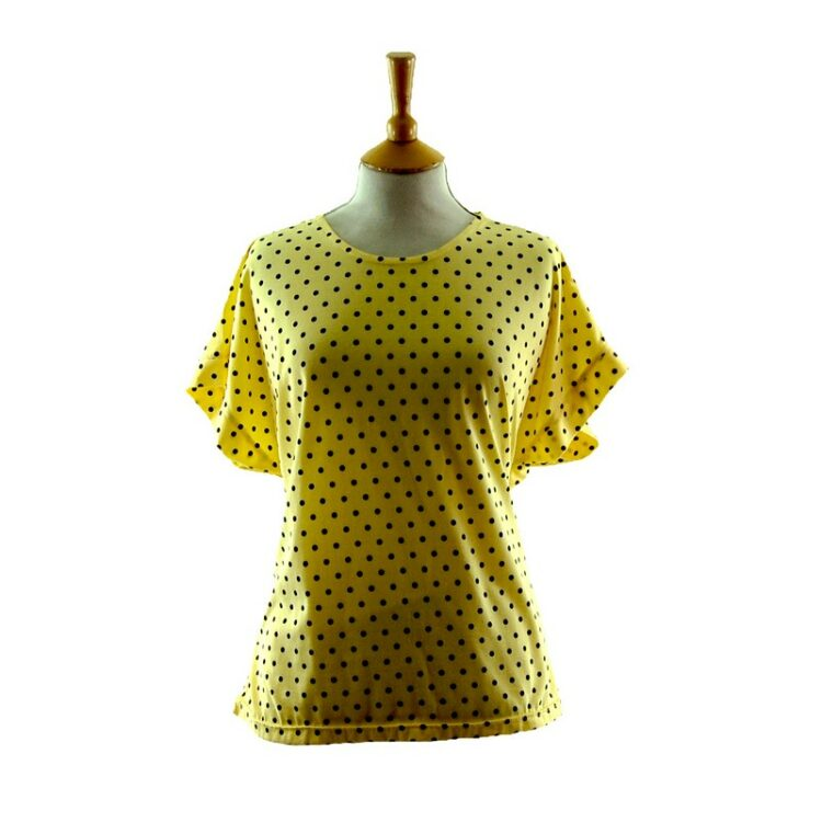 Womens 80s t shirt With Black Polka Dots