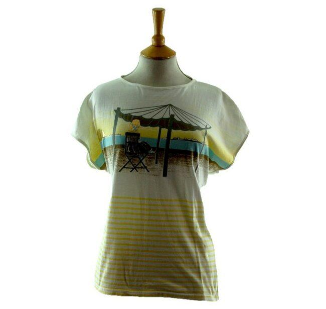 Womens Beach Scene 80s Striped T Shirt