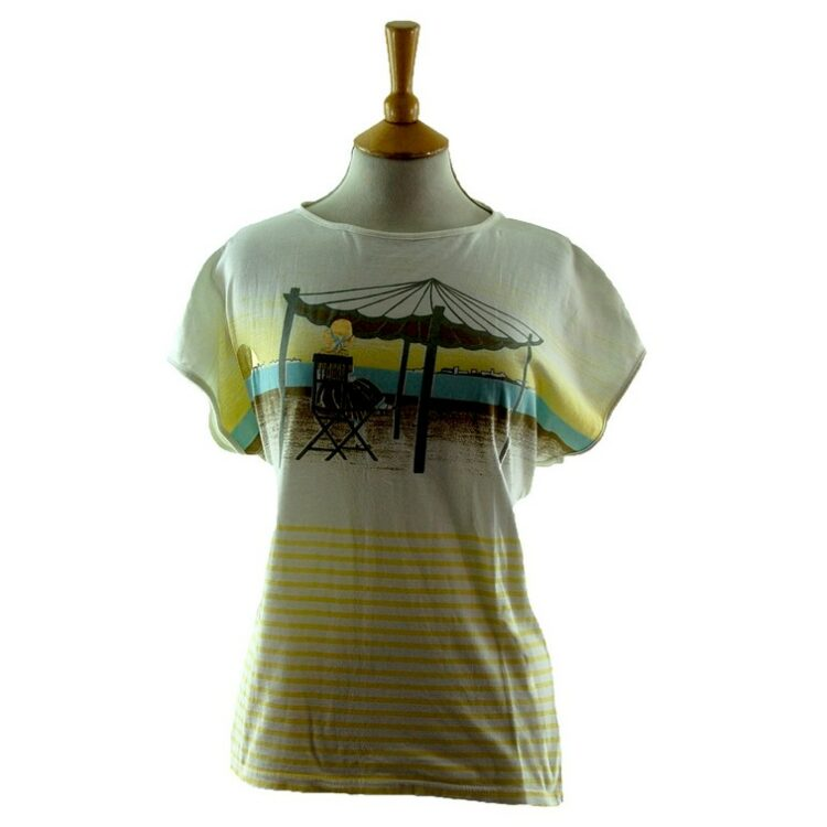Womens Beach Scene 80s Striped T Shirt