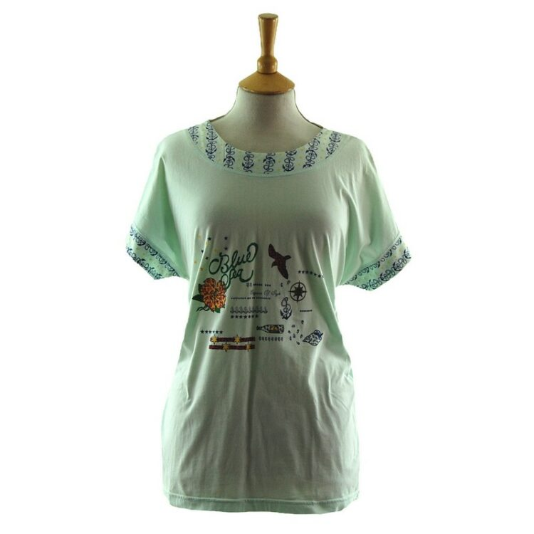 Womens Blue Sea Anchor 80s Style Mariner t shirt